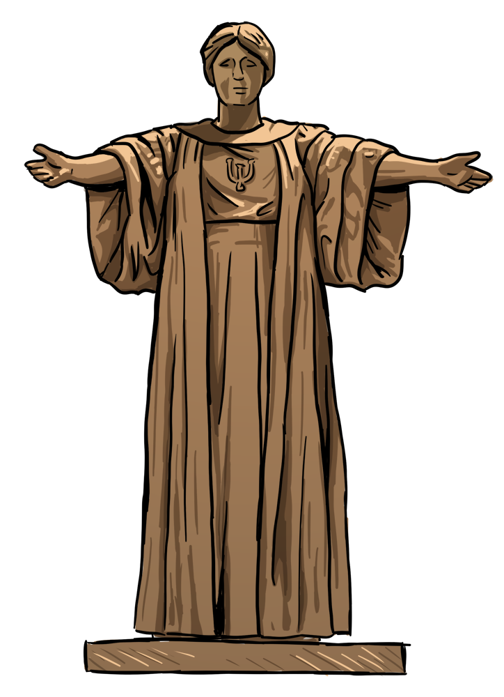drawing of the U of I Alma Mater statue