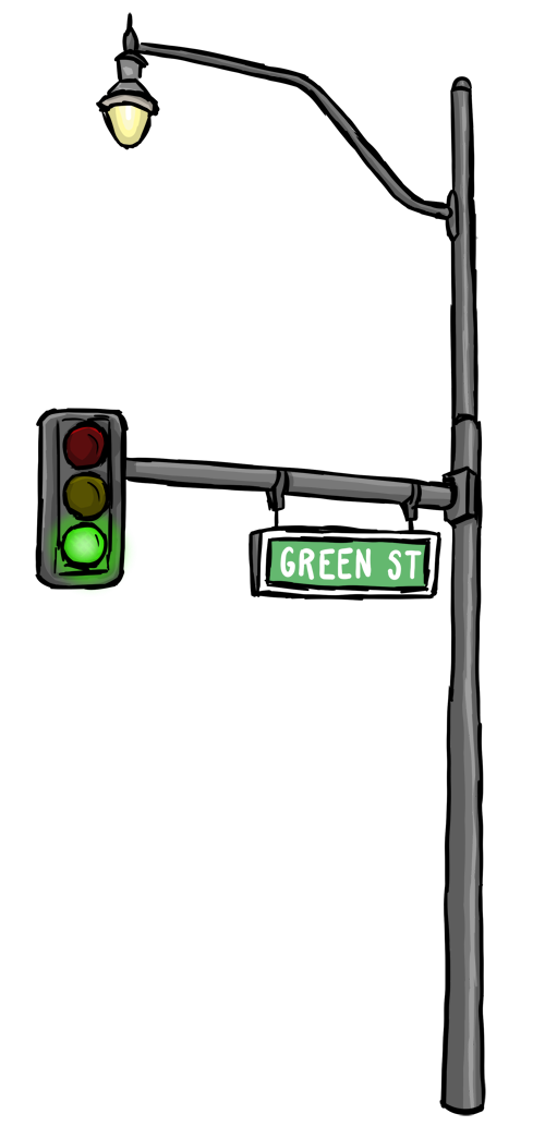 drawing of a Green Street sign with lightpost