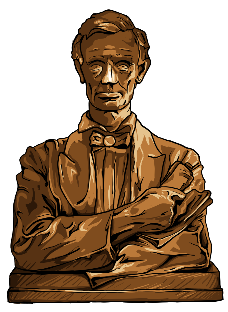 drawing of a statue of Abraham Lincoln